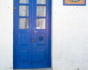 Blue door travel art photo print , summer photo, wall decor, Greece, greek islands, Agistri, blue summer decoration
