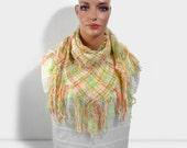 Hand Woven Shawl, Handmade Triangle Shawl, Pastel Colors
