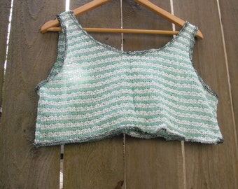 Funky Tank Top/ Eco Crop Summer Shirt/ Mini Dress Shabby Chic Sheer Knit Mint Cream Free Size S-L
