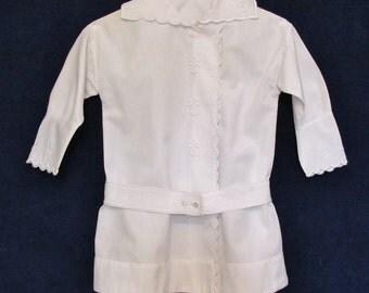 Antique Russian suit jacket for little boy, c.1910's white cotton summer jacket