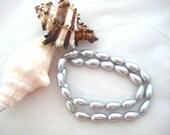 Silver 15x7mm Teardrop Glass Pearls - Full Strand