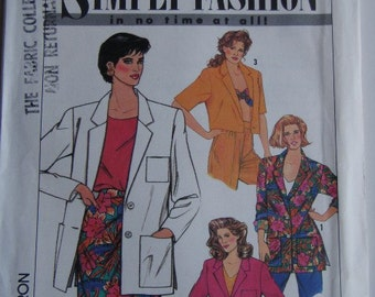 1990's Sewing Pattern - Simplicity 9628 Unlined loose fitting jacket Size 6-14 Uncut, Factory Folded