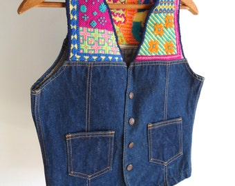70s Vintage Women Vest Denim Jean Vest Bright Embroidery Neon with Clown Detail on Back Funny Hipster Boho Hippie Medium sized