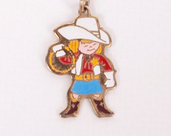 Vintage Cowgirl Necklace Child Jewelry Costume Pendant Gold Tone Enamel