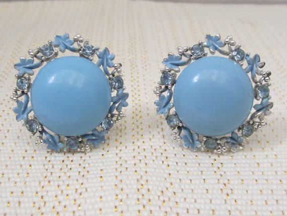 Light Blue Button Style Clip On Earrings With By Myabbiesattic