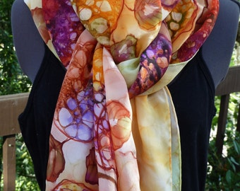 Hand Painted Silk Scarf, Shawl, Wrap with Leaves of Gold, Purple, Poppy, Lime, Moss