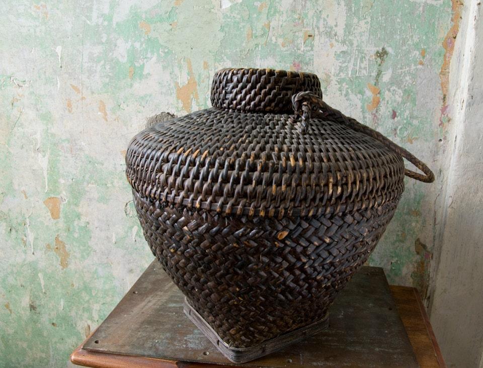 Woven Basket Art : Vintage woven basket hand folk art