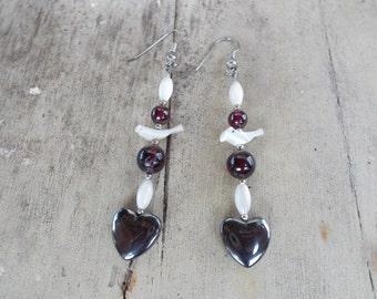 Native American Heart and Bird Earrings