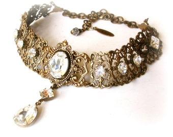 Swarovski  Crystal Choker  - Victorian Gothic  Brass Choker - Victorian Jewelry -Wedding Jewelry