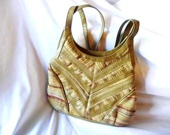 Valerie Barad Purse Leather Woven Textile Vintage Designer Shoulder Bag