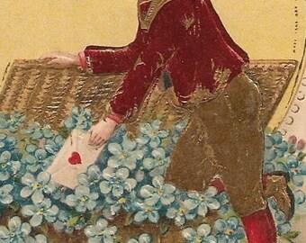 Ca. 1910 Valentine Greetings Postcard w/ Cupid and Flowers - 867