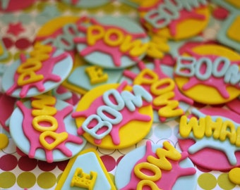 Girl Superhero-Themed Fondant Cupcake Toppers - Perfect for Cupcakes, Cookies and Other Edibles