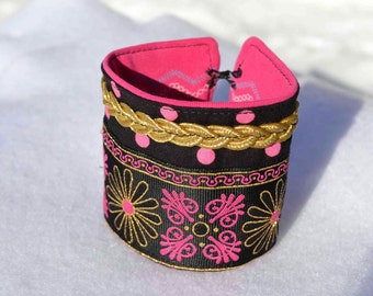 Brocade Fabric Cuff Bracelet, gold braid trim pink black golden pattern upcycled interior flowers polka dots hook and eye closure women size