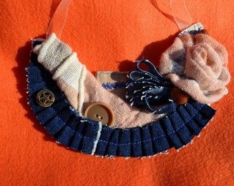 Shabby Chic Peachy Denim Fabric Necklace, blue orange bib rose pleated vintage buttons upcycled napkin cowgirl Spring Summer Mother's day