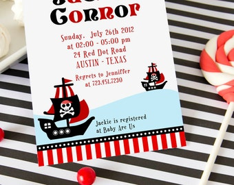 DIY PRINTABLE Invitation Card - Red Pirate of Caribbean Baby Shower Invitation - BS831CA1a1