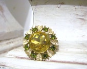 Avon Rhinestone Brooch with Citrine and Peridot