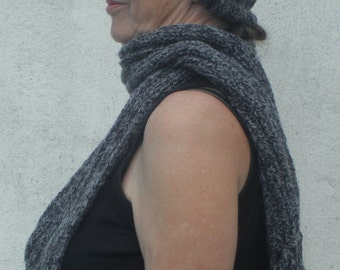HAND KNITTED Ladies Blue/Navy Speckled Hat and Scarf Set - (Ready to Ship)