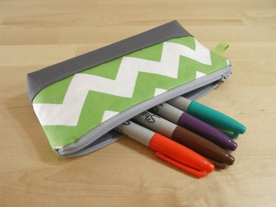 SALE Pencil Case, Zipper Pouch, Small Cosmetic Bag in Spring Green Chevron - back to school