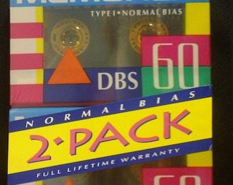 Vintage Memorex DBS 60 Type I Normal Bias Blank Audio Cassette Tape 2-pack