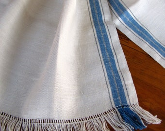 Vintage Linen Towel Dish Blue Stripe Kitchen Natural Homespun Fringe Unused