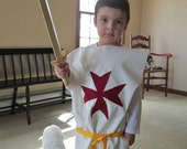 Crusader Templar Tunic For Children, White W/ Red Cross - Medieval Costume