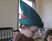 Robin Hood Hat, Felt Handmade Woodsman Hat - Hunter Green Felt, RED TRIM -