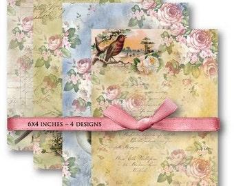 Digital Images - Digital Collage Sheet Download - Birds Floral Backgrounds -  600  - Digital Paper - Instant Download Printables