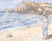 Fine art girl at beach beach signed art print landscape beach painting seagull Rhode Island Giclee New England Model art beach sea  8.5x11