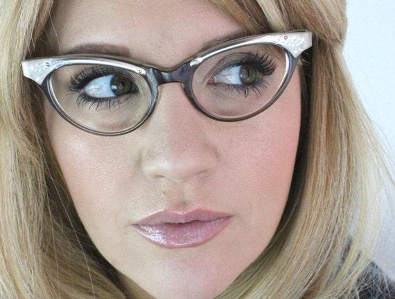Vintage 50's Mink Engraved Aluminum Winged Cat Eyeglasses