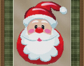 Cross Stitch Pattern Jolly Fat Santa Claus Holiday Christmas Design Instant Download PdF