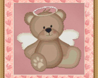 Cross Stitch Pattern Angel Bear Whimsical Cute Design Instant Download PdF