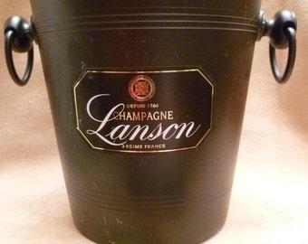 Vintage Champagne Ice Bucket Champagne Lanson French Advertising Hotel / Bistro Ware in Powder Black