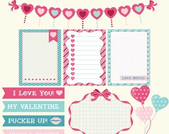 70% OFF SALE Valentines Clipart, Journal Cards, Bunting Clip Art, Clip Art Balloons, Birthday Clipart, Party Clipart, Party Clip Art