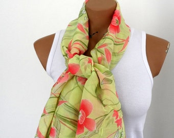 Women Scarf Pareo,  Green Floral Scarf, Bustier Pareo for Summer