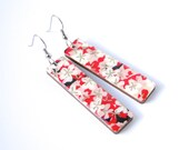 Red and Pink Floral Earrings, Cherry Blossom Earrings, Long Earrings, Japanese Earrings, Laser Cut Wood, Lightweight, Gift Under 20, Flowers