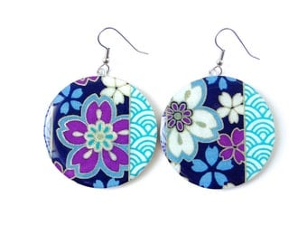 Japanese Flower Earrings, Turquoise and Purple, Neon Earrings, Cherry Blossoms, Washi Chiyogami YUzen, Dangles, MADE TO ORDER, Gift under 20