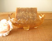 Flora Gold Carnival Glass Bowl/ Marigold Depression Glass Footed Soap Dish/ Footed Bowl/ Best Price Online