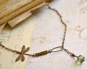 Brass Dragonfly Necklace with Peridot Green Czech Glass and front clasp