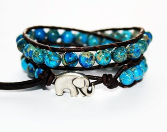 lucky elephant jewelry, elephant bracelet, leather beaded bracelet, animal jewelry, boho chic jewelry