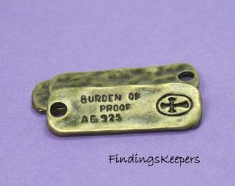 6 Burden of Proof Cross Charms  Antique Bronze Tone 32 x 11 mm -  bz116