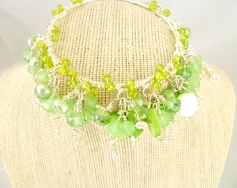 Green Glass Bead Charm Bracelet