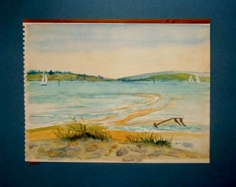 English Watercolor Seascape Painting Signed A Jemain Vintage Art Original
