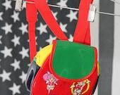 Mega Mini Sailor Moon Red Green Yellow Shiny Patent Super-Mini Backpack/Purse