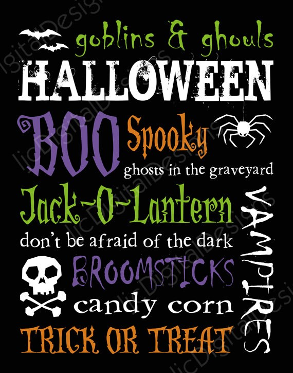 HALF PRICE SALE Printable Halloween Digital Subway Art Typography Poster Decoration 11x14 and 8x10