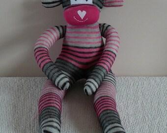 Plush Sock Monkey - Ronald ,CE, toy, children, Plush animal,sock animal,sock doll,stuffed animal,sock creature,uk,monkey,stripe