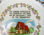 Vintage Decorative Plate- Wall Hanging- English Cottage and Violets- Fairway Japan Porcelain- Wifely Quote- Bridal Gift