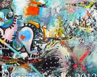 Giclee Print of Original Abstract Mixed Media Painting - Pieces of the Past
