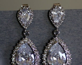 Bridal Drop Earrings, French Hooks or Posts, Wedding Earrings, Crystal Earrings, Pear Crystal Earrings, Cubic Zirconia Earrings.