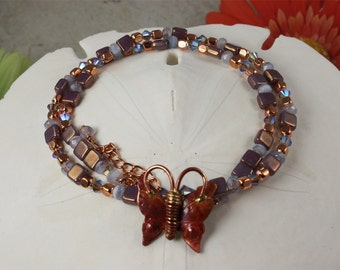 SALE Butterfly Necklace, Purples & Copper Necklace, Crystals n Copper Necklace