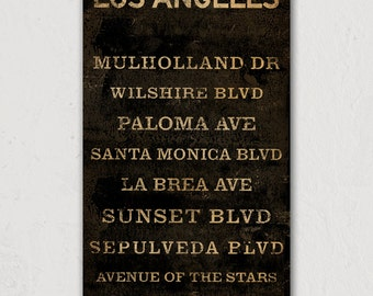 CUSTOM Personalized Los Angeles Streets  -  READY to HANG - Gallery Wrapped Canvas Wall Art Signed